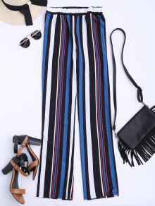 Striped Straight Cut Flowy Pants - Multicolor S