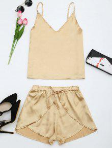 Cami Satin Two Piece Suits - Golden S