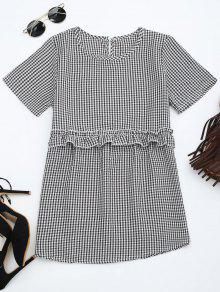 Round Collar Ruffle Hem Checked Blouse - Checked L