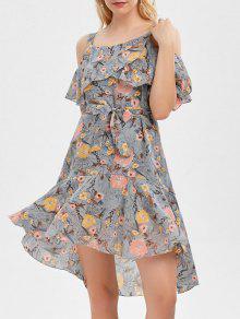 فستان باردة الكتف كشكش طباعة الأزهار - رمادي S
