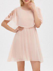 فستان كشكش شيفون باردة الكتف - الضحلة الوردي 2xl