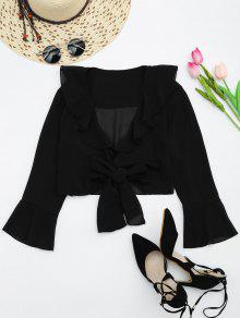 Ruffle Hem Self Tie Cropped Blouse - Black S