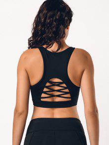 صدرية رياضية بتداخل شبك وأربطة في الظهر - أسود L