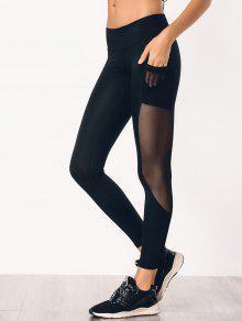 See Through Pocket Mesh Panel Activewear Leggings - Black M