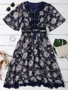 فستان الرباط غارق الرقبة زهري - Cadetblue رقم L