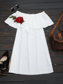 Robe Florale à Volants - Blanc