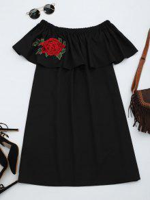 Floral Patched Flounce Shift Dress - Black