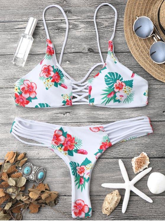 Bikinis florals à bandes entrecroisées - Blanc S