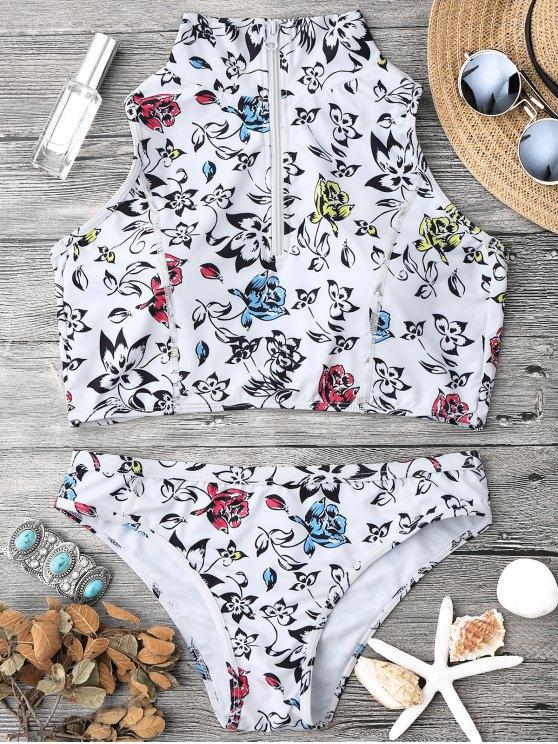 hot Padded Zipped Crop Bikini Top and Bottoms - WHITE L