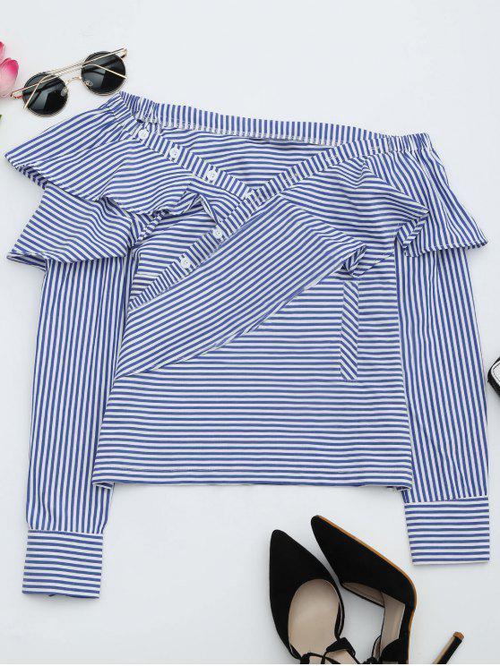 shops Convertible Collar Ruffle Hem Striped Blouse - STRIPE L