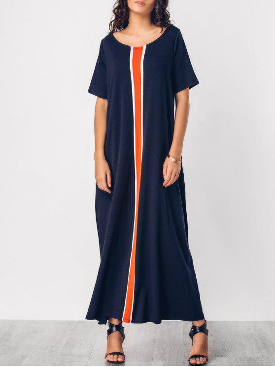 اللون كتلة الحياكة لوحة اللباس ماكسي - الأرجواني الأزرق M