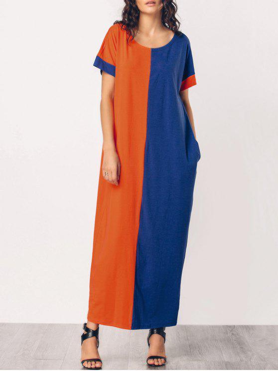 فستان ماكسي مريح بأسلوبين الشرق الأوسط - برتقال + الأزرق L