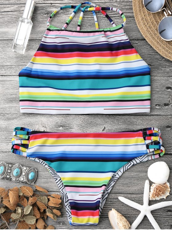 fancy High Neck Multi Striped Strappy Bikini Set - MULTICOLOR S