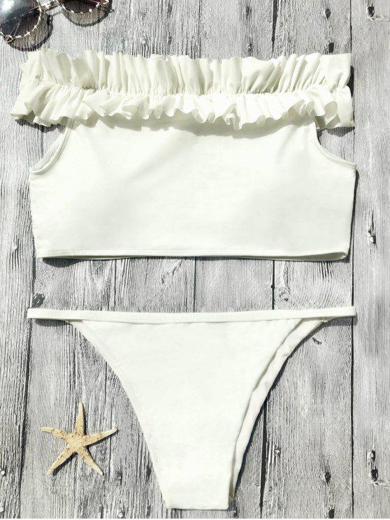 Ensemble de bikini épaulé dénudée ruché - Blanc Cassé L