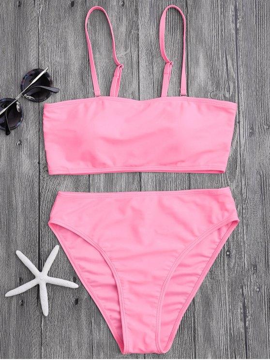 Bikini bandeau paddé taille haute - ROSE PÂLE L