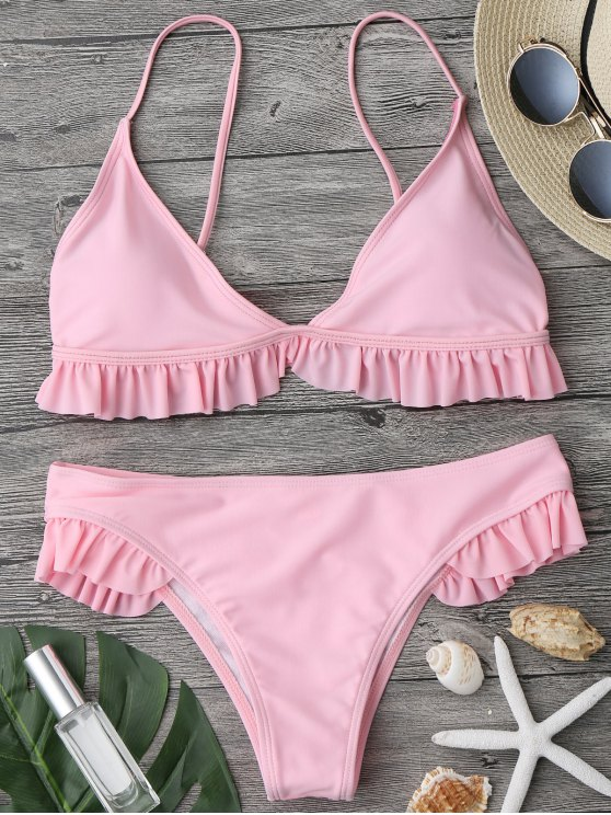 ladies Ruffle Padded Plunge Bikini Set - PINK M