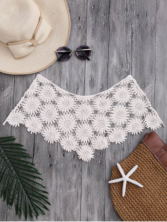 fashion Tube Sun Flower Crochet Cover Up Top - OFF-WHITE ONE SIZE