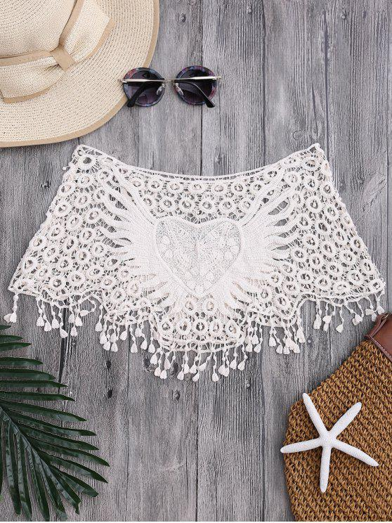 fancy Tube Heart Crochet Tube Cover Up Top - OFF-WHITE ONE SIZE
