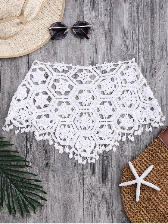 unique Tube Laser Cut Crochet Cover Up Top - WHITE ONE SIZE