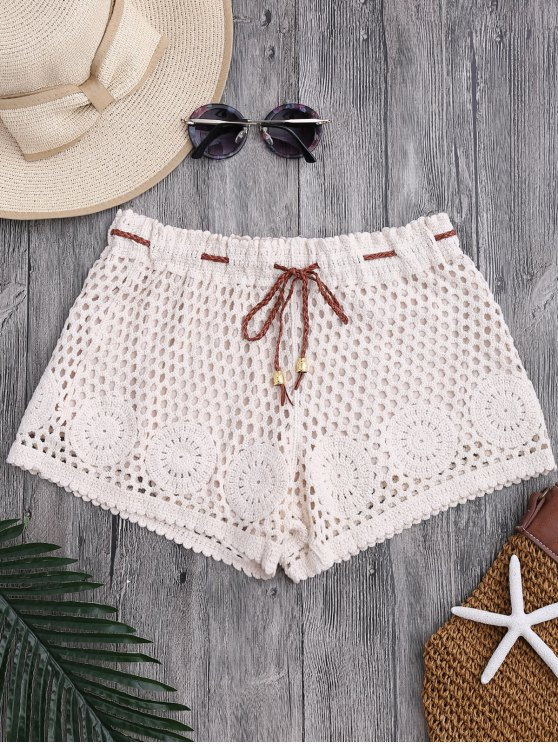 affordable Laser Cut Drawstring Crochet Cover Up Shorts - OFF-WHITE