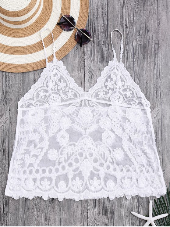 womens Cami Floral Crochet Cover Up Top - WHITE ONE SIZE