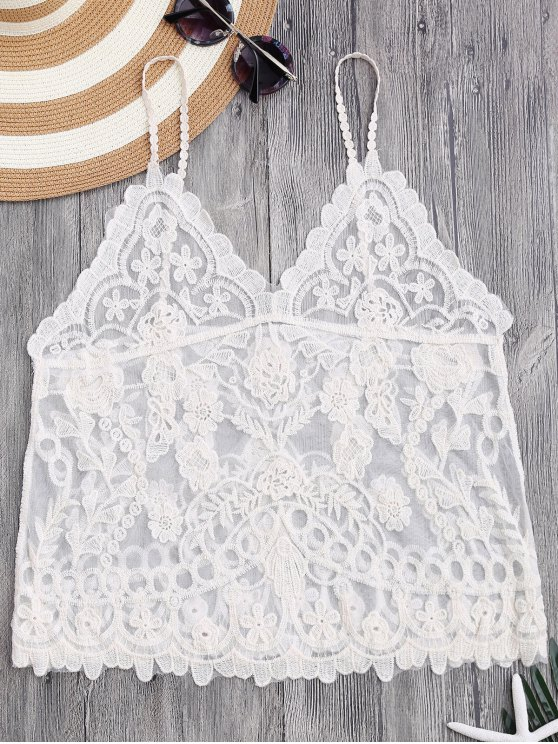 women Cami Floral Crochet Cover Up Top - OFF-WHITE ONE SIZE