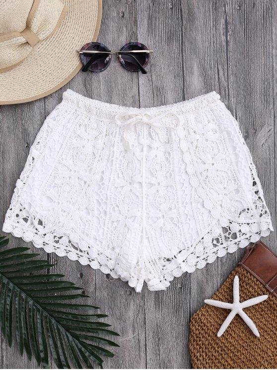women's Drawstring Flower Crochet Cover Up Shorts - WHITE ONE SIZE