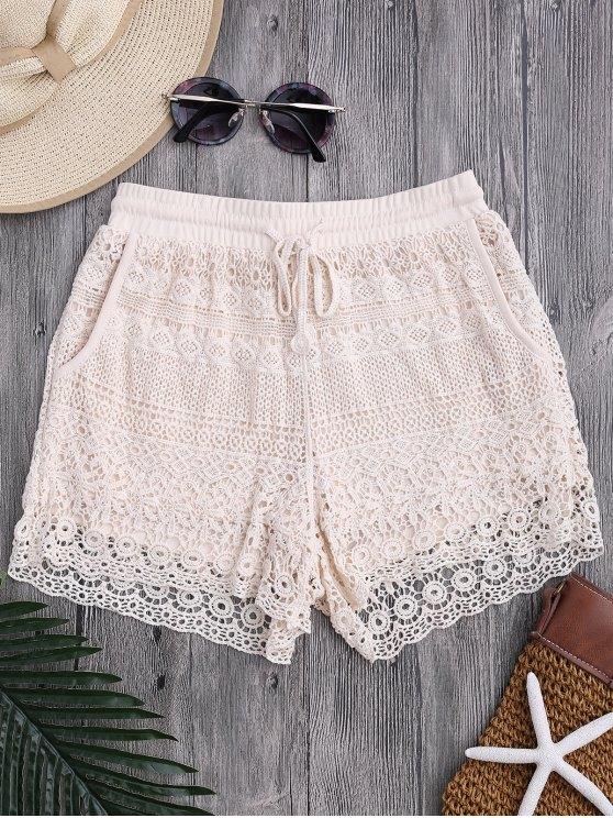 Bolsillos forrados con cordón Crochet Cover Up Shorts - Blancuzco Única Talla