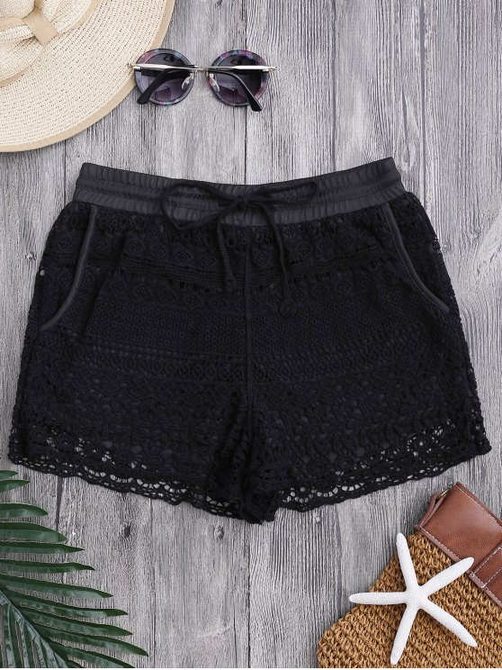 lady Pockets Lined Drawstring Crochet Cover Up Shorts - BLACK ONE SIZE