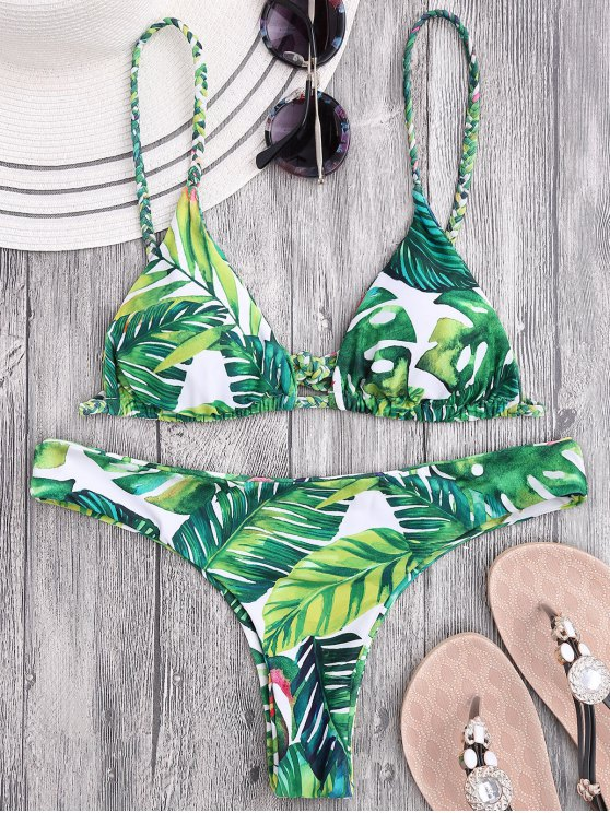 fancy Braided Straps Leaf Print Thong Bikini - FLORAL L