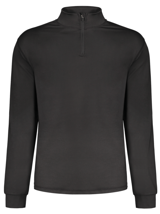 Stand Collar Long Sleeve Half Zip Top - Preto 2XL