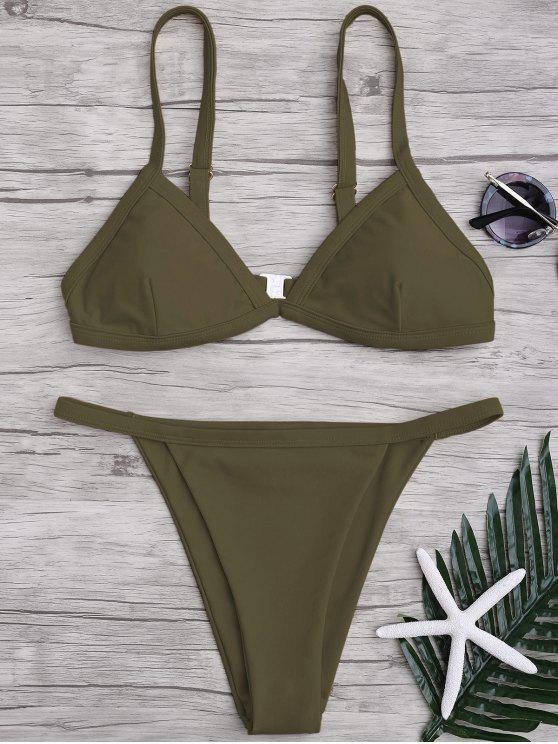 best Solid Color Spaghetti Straps Low Waisted Bikini Set - ARMY GREEN S