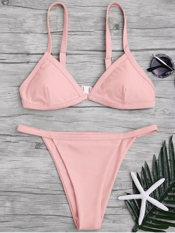 Bikini à taille basse à couleur pure à bretelle spaghetti - ROSE PÂLE XL
