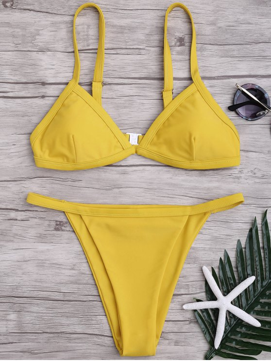 Correas de espagueti de color sólido Juego de bikini de escote bajo - Amarillo XL