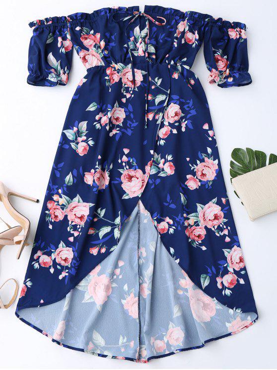 Robe imprimée fleur épaules dénudées pan asymétrique - Bleu Violet M
