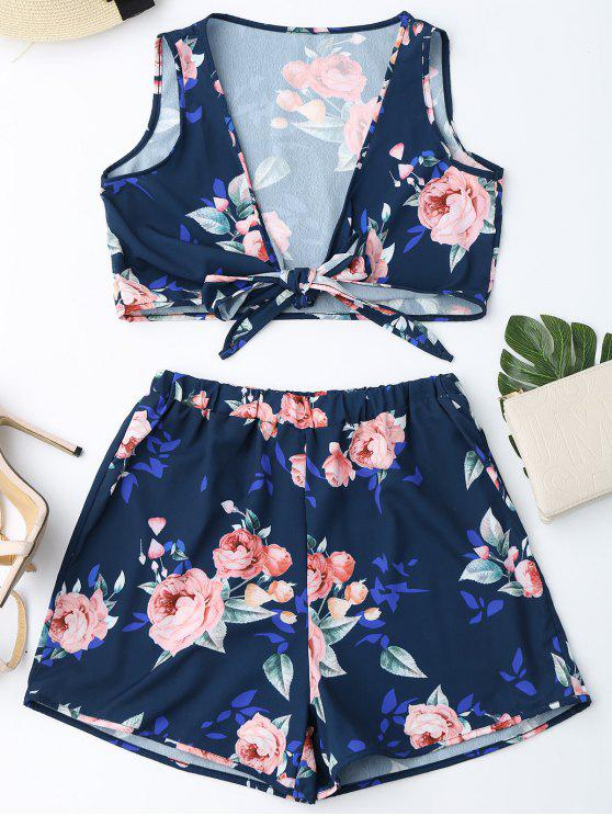 trendy Knot Hem Floral Crop Top and Shorts - PURPLISH BLUE L