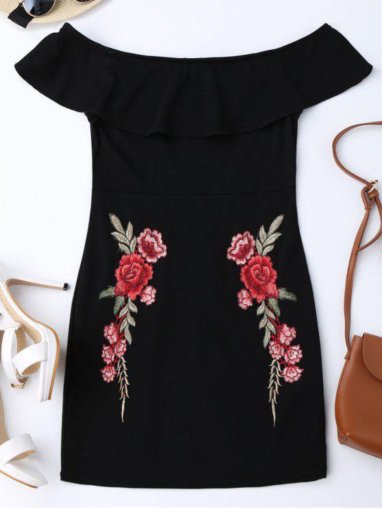 Gesticktes Schulterfreies enges Kleid mit Rüschen - Schwarz L