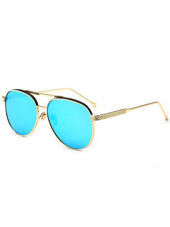 Occhiali Da Sole Da Pilota Con Traversa Doppia In Metallo A Specchio - Blu del ghiaccio
