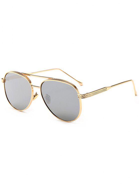 عاكسة مزدوجة المعادن العارضة الطيار النظارات الشمسية - الذهب الإطار + فضة عدسة