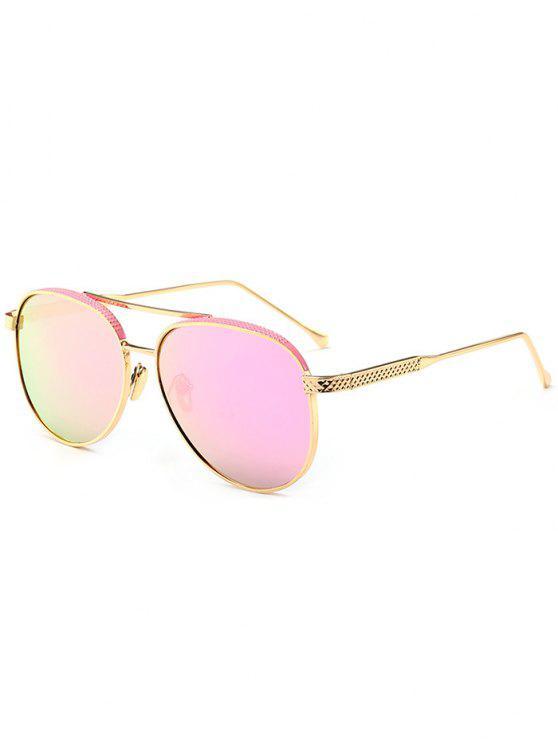 Occhiali Da Sole Da Pilota Con Traversa Doppia In Metallo A Specchio - Struttura Oro + Lente Rosa