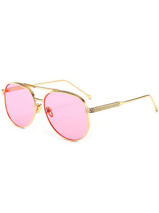 عاكسة مزدوجة المعادن العارضة الطيار النظارات الشمسية - وردي واضح