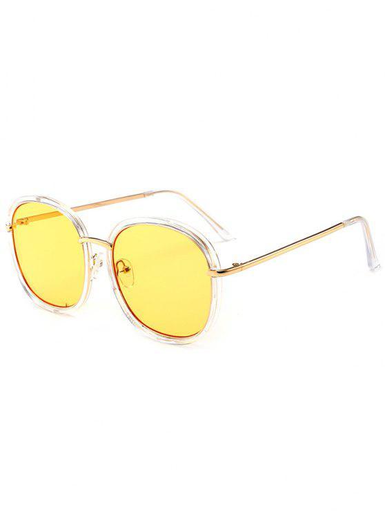 Óculos de sol de proteção UV com incrustações de metal embutido - Amarelo