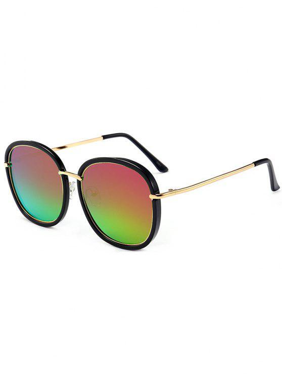 نظارات شمسية بعدسات عاكسة - مسود أخضر + بنفسجي