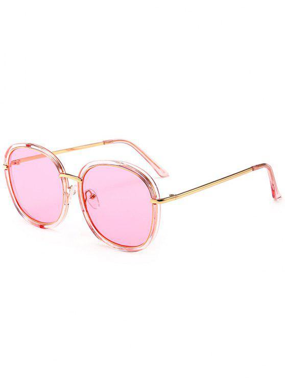 Óculos de sol de proteção UV com incrustações de metal embutido - Rosa Transparente