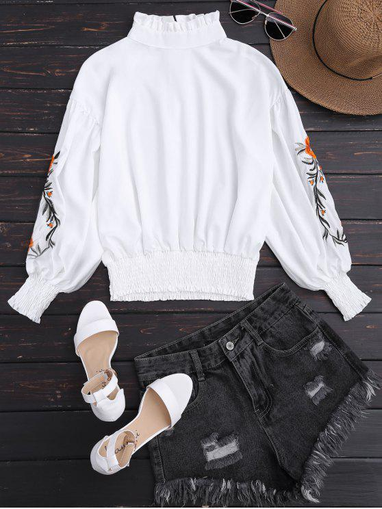 latest Puff Sleeve Floral Embroidered Ruffled Blouse - WHITE XL