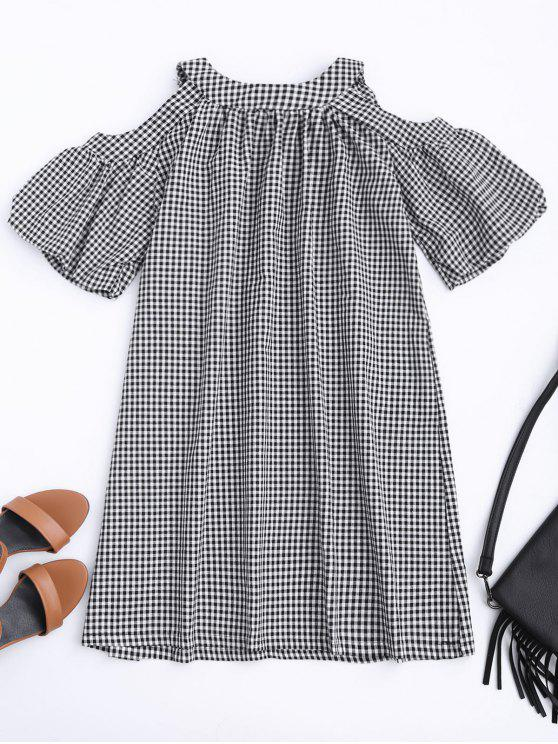 online Cold Shoulder Puff Sleeve Checked Dress - CHECKED L