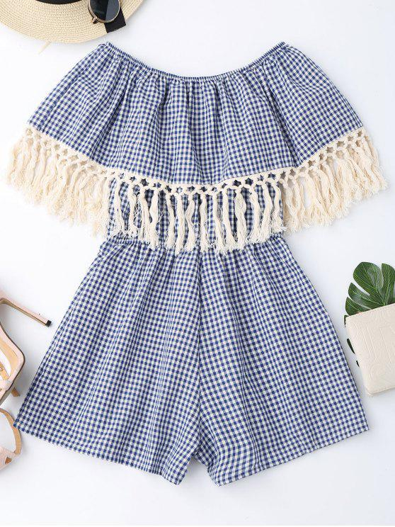 hot Off Shoulder Printed Tassel Romper - BLUE S