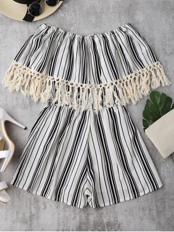 new Off Shoulder Printed Tassel Romper - STRIPE S