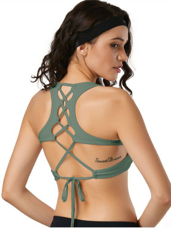 sale Scoop Back Lace Up Padded Sporty Bra - ARMY GREEN L