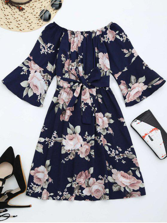 sale Off The Shoulder Floral Print Belted Dress - PURPLISH BLUE M